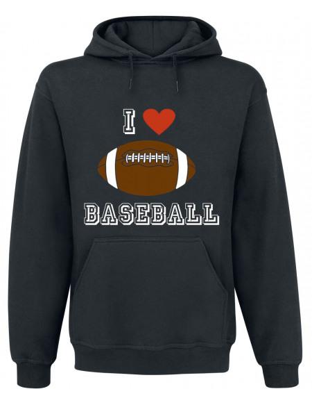 I Love Baseball Sweat à capuche noir