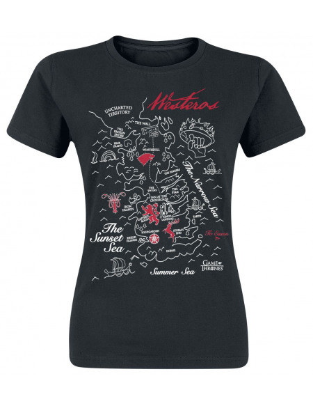 Game Of Thrones Carte De Westeros T-shirt Femme noir