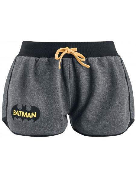 Batman Logo Short Femme gris chiné/noir