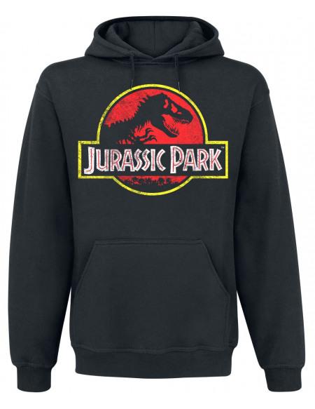 Jurassic Park Logo Délavé Sweat à capuche noir