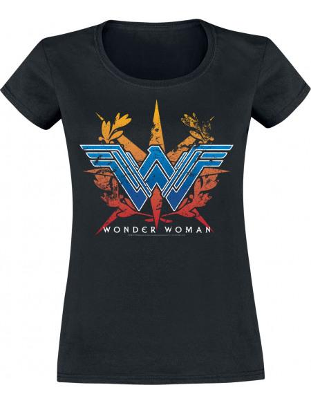 Wonder Woman Logo Couronne T-shirt Femme noir