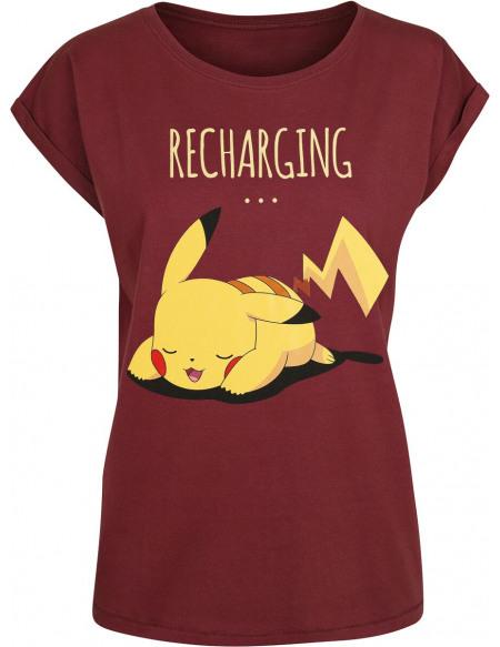 Pokémon Pikachu - Recharging T-shirt Femme bordeaux
