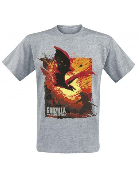 Godzilla Dragon T-shirt gris chiné