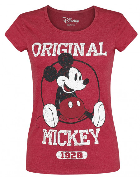 Mickey & Minnie Mouse Original T-shirt Femme rouge chiné