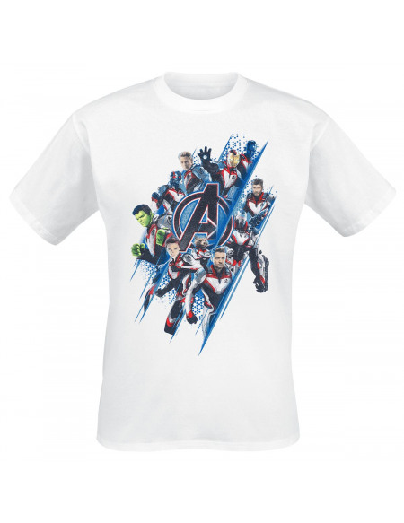 Avengers Logo Diagonales & Personnages T-shirt blanc