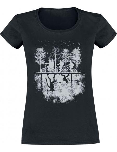 Stranger Things Upside Down T-shirt Femme noir