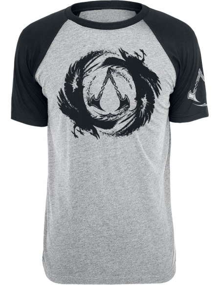Assassin's Creed Valhalla - Logo & Corbeau T-shirt gris chiné/noir