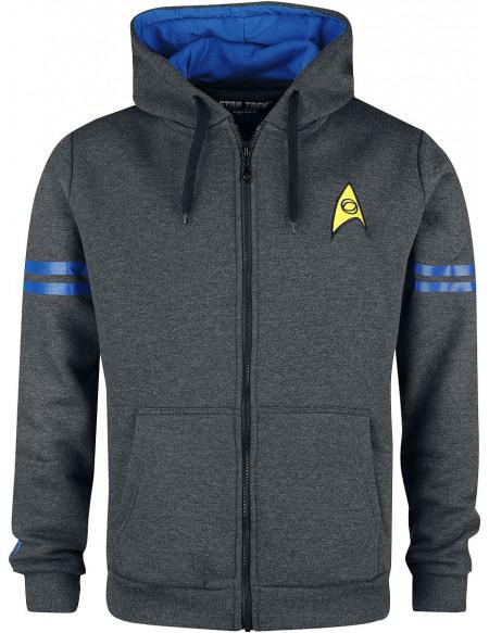 Star Trek Vulcan Lieutenant Sweat Zippé à Capuche Gris anthracite chiné