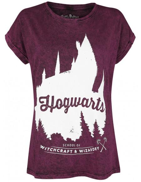 Harry Potter Poudlard T-shirt Femme bordeaux