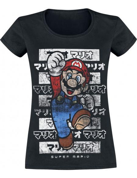 Super Mario Mario - Kanto T-shirt Femme noir