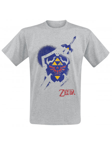 The Legend Of Zelda Bouclier T-shirt gris chiné