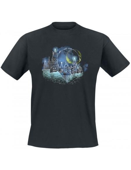Harry Potter Wireframe Poudlard T-shirt noir