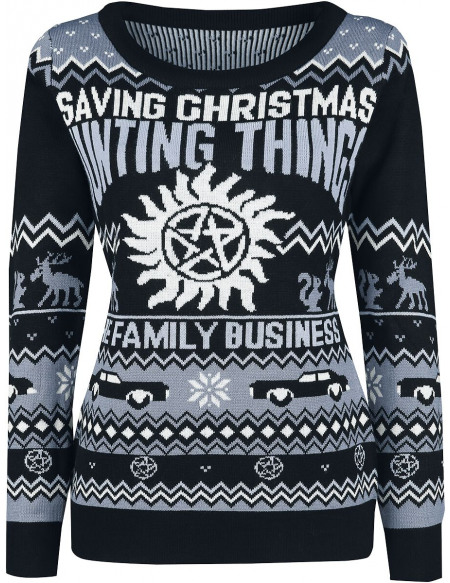 Supernatural Saving Christmas Hunting Things Pull Femme multicolore