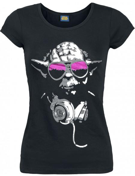 Star Wars Yoda Cool T-shirt Femme noir
