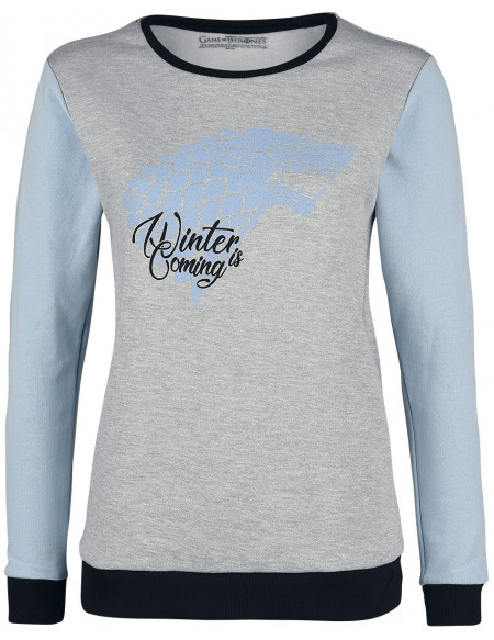 Game Of Thrones Maison Stark - Winter Is Coming Sweat-shirt Femme gris chiné/bleu clair