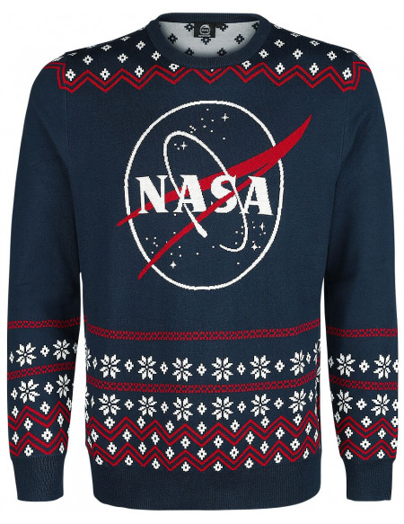 NASA Logo Pull tricoté bleu