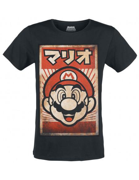 Super Mario Mario - Poster T-shirt noir