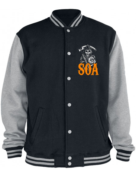 Sons Of Anarchy Reaper - Orange Veste de Football Américain chiné noir/gris