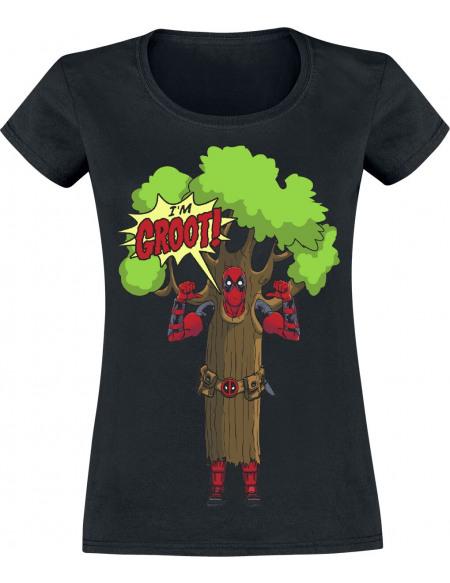Deadpool I'm Groot T-shirt Femme noir