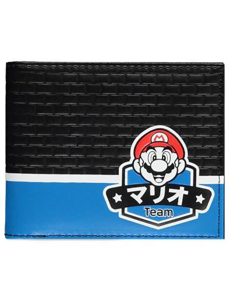 Super Mario Équipe Portefeuille bleu/noir