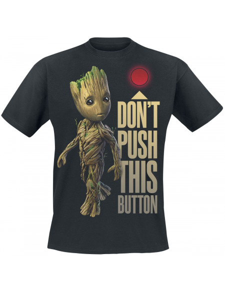 Les Gardiens De La Galaxie Les Gardiens de la Galaxie 2 - Groot - Button T-shirt noir