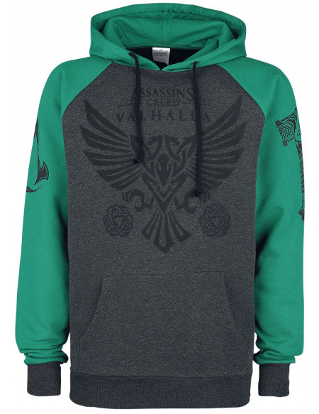 Assassin's Creed Valhalla - Corbeau Sweat à capuche gris foncé chiné/vert