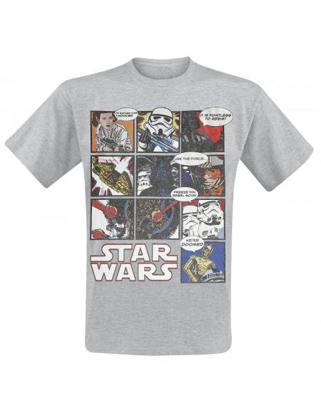 Star Wars Comic Strip T-shirt gris chiné