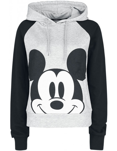 Mickey & Minnie Mouse Sweat à Capuche Femme gris clair chiné/noir