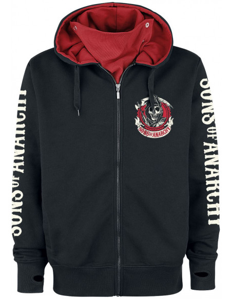 Sons Of Anarchy American Outlaw Sweat Zippé à Capuche noir