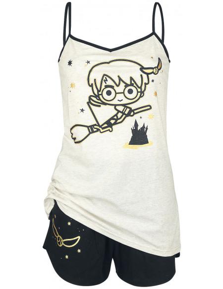 Harry Potter Chibi Quidditch Pyjama crème/noir