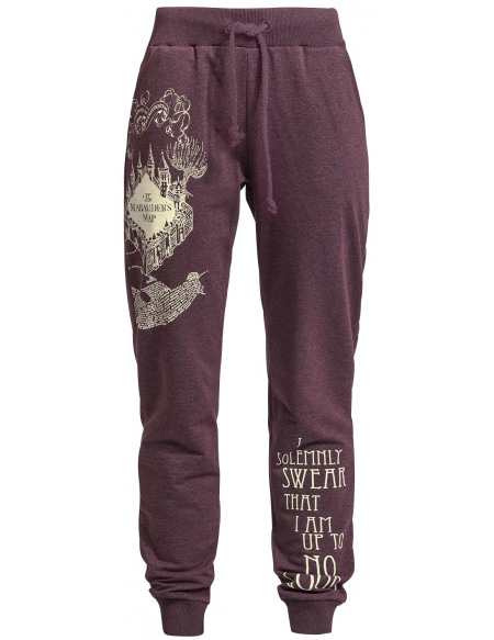 Harry Potter La Carte Du Maraudeur Pantalon de Survêtement Femme bordeaux chiné