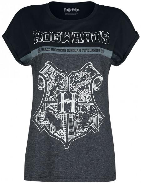 Harry Potter Poudlard T-shirt Femme chiné noir/gris