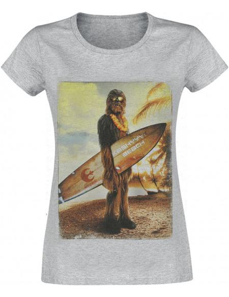 Star Wars Chewbacca - Beach T-shirt Femme gris chiné