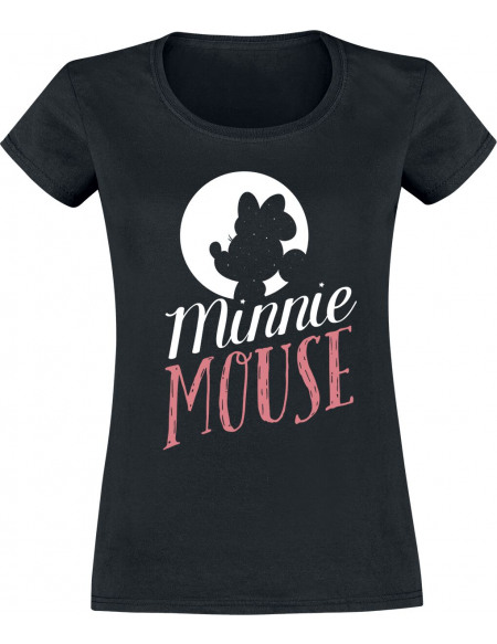 Mickey & Minnie Mouse Minnie Silhouette T-shirt Femme noir