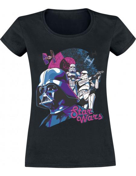 Star Wars Dark Vador & Stormtrooper - Retro T-shirt Femme noir