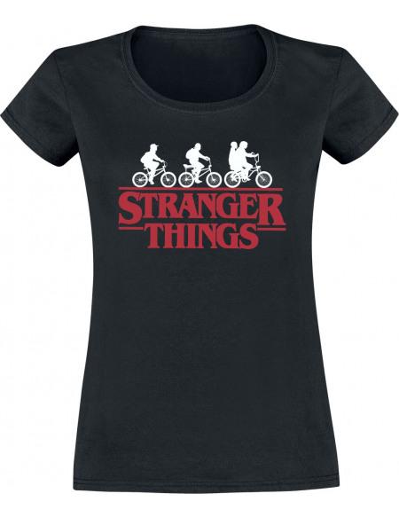 Stranger Things Bike Club T-shirt Femme noir