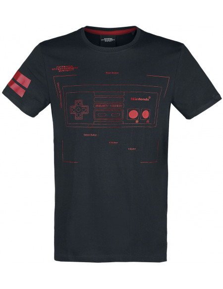 Nintendo NES - Nintendo Entertainment System - Retro Controller T-shirt noir