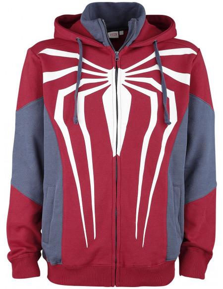 Spider-Man Logo Araignée Sweat Zippé à Capuche rouge/bleu
