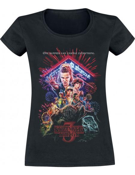 Stranger Things Affiche Saison 3 T-shirt Femme noir