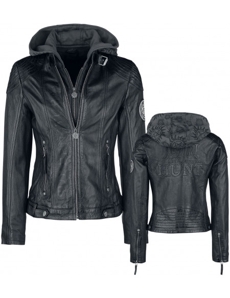 Supernatural Join The Hunt Blouson en Cuir Femme noir