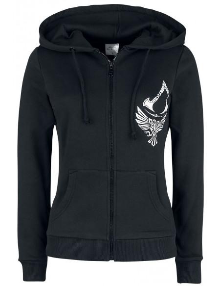 Assassin's Creed Valhalla - Corbeau & Symbole Veste à Capuche Femme noir