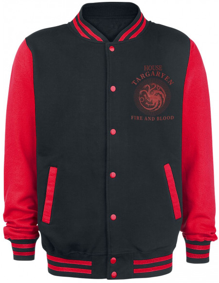 Game Of Thrones Maison Targaryen Veste de Football Américain noir/rouge