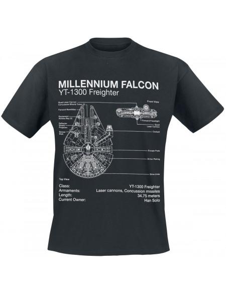 Star Wars Plans Faucon Millenium T-shirt noir
