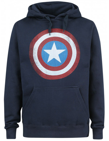 Captain America Logo Bouclier Sweat à capuche marine