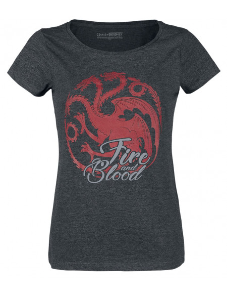 Game Of Thrones Maison Targaryen - Fire And Blood T-shirt Femme Gris anthracite chiné