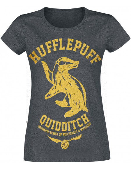 Harry Potter Poufsouffle - Quidditch T-shirt Femme gris sombre chiné