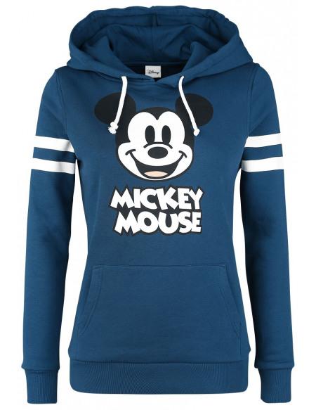 Mickey & Minnie Mouse Stripes Sweat à Capuche Femme bleu