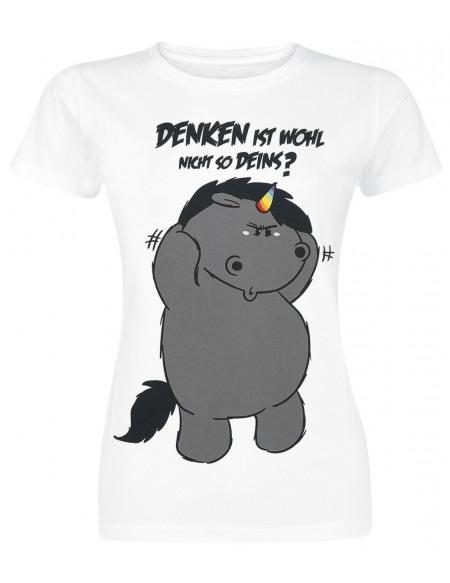 Chubby Unicorn Grummeleinhorn - Denken ist wohl nicht so deins? T-shirt Femme blanc