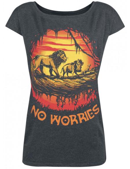 Le Roi Lion No Worries T-shirt Femme gris sombre chiné