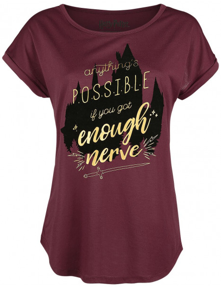 Harry Potter Phoenix T-shirt Femme bordeaux